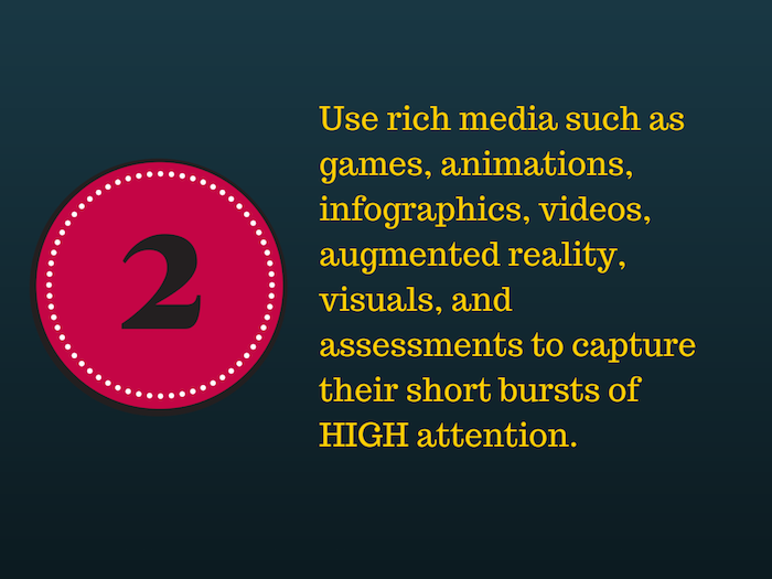Black background with a red circle and the number 2 and text Use rich media to capture short bursts of HIGH attention.