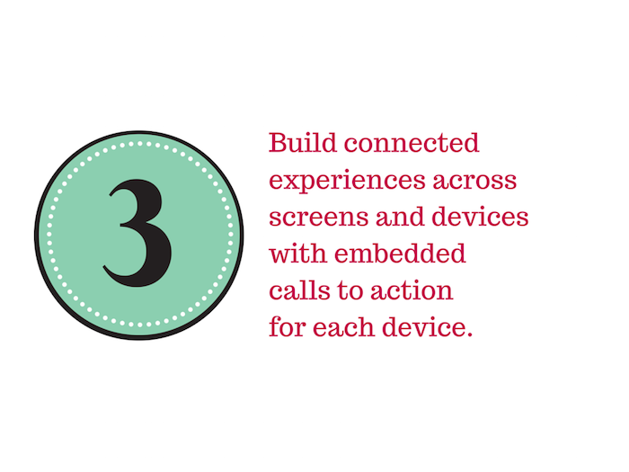 Mint green circle on a white background with the number 3 inside and text Build connected experiences across devices with a call to action for each device..